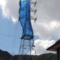 高圧線鉄塔にネット覆いが!