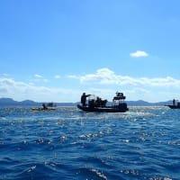 安和の琉球セメント桟橋で土砂の搬入と海上搬出に抗議