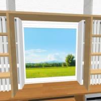 窓に棚型の引き戸と付けるという考え方