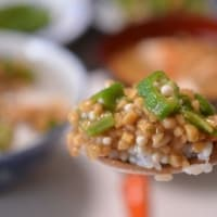 納豆にオクラのネバネバ丼