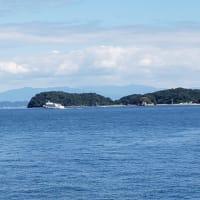 老婆と仲良く南国、周防大島の碧い海にドライブ