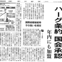 ハーグ条約国会承認 年内にも加盟 (朝日新聞(2013.5.22夕刊)