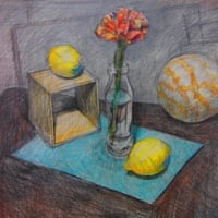 セレネ月イチ美術部「鉛筆×色鉛筆」で花を描こう‼