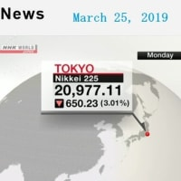 Nikkei marks biggest fall this year 2019年03月25日