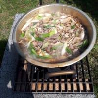 芋煮と鮎とシシトウ?と……アユパーク舟形