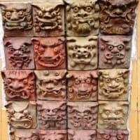 ユニーク顔のシーサー達♪沖縄 貸別荘