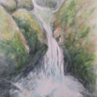 楽描き水彩画「赤目四十八滝の1枚です」
