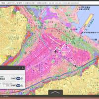 高知県の津波避難用の色別標高地図(標高(海抜)範囲ごとに別々の色を塗った国土地理院地図)。高知県の各・市町村。自宅や勤務先や通学先学校から避難のための高台・津波避難ビルに逃げる道を探す地図。