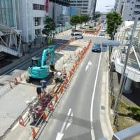 川越駅西口歩行者デッキの延長工事は休工中?