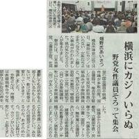 #akahata 横浜にカジノいらぬ/野党女性議員そろって集会 日本共産党:畑野氏あいさつ・・・今日の赤旗記事