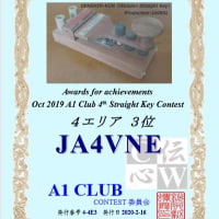 A1 CLUB STRAIGHT KEY コンテスト表彰状