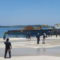 本部港塩川区で土砂積み込みに抗議行動