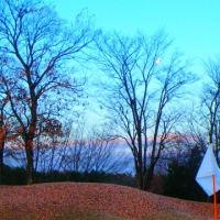 冬も日の出ゴルフ 裸木に絡む月