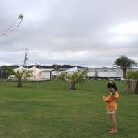 キャンプ場で凧作り(千葉県一宮)
