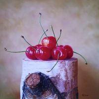 『白樺のさくらんぼ』油彩画