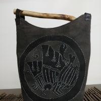 柿渋染め・蝶の家紋型染め・刺子・手提げバッグ