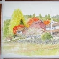 絵「柚木秋景」(工程)