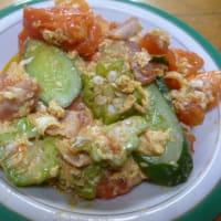 おばさんの料理教室No.3584キュウリ・オクラ・トマトの卵炒め