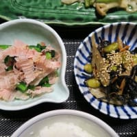 真鱈の野菜あんかけとひじきの炊いたん、炊屋食堂の田舎定食・・・素朴、