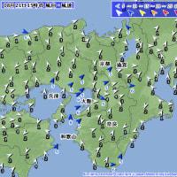8月21日 アメダスと天気図。