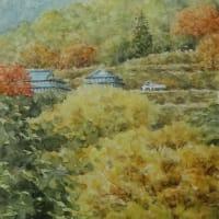 絵「秋の山里」(新作)