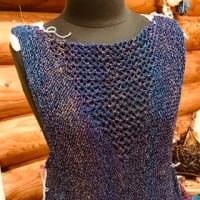 ニッケミラージュで編むチュニック  後身頃編み始めました