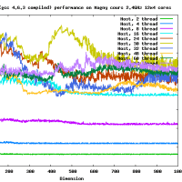 Rgemm gmp (gcc 4.6.3 compiled) on AMD Opteron Magny-Cours 2.4GHz 48 cores