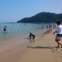 夕日ヶ浦温泉で海水浴