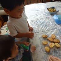 家族3人で味噌煮込みうどんとクッキー