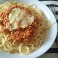 とろとろチーズ乗せミートスパゲティ