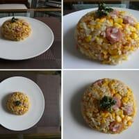 男の料理~我が家の昼ごはんは、コーンたっぷりウインナーバター醤油チャーハン~