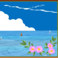 涼しい中でのグラウンドゴルフ練習  pCアート教室(夏の海 ハマナスの花)