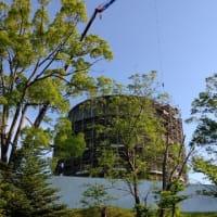 河合町の給水塔が取壊し