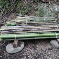 玉切り台で竹を切る