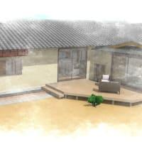 間取りと暮らしと生活環境へのアプローチ設計デザイン、LDKとつながるウッドデッキのある庭空間は生活時間と過ごす場所を拡張する装置としての役目とアウトドアリビングから寛ぐ場所を設計デザインで提案中。