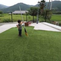 人工芝と目隠しネット