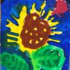 キャンバス画用紙に描く「ひまわり」