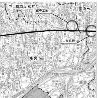 リニア甲府駅と保守基地