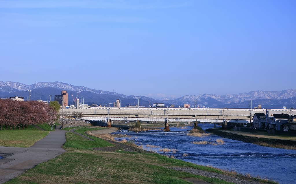 犀川を渡る北陸新幹線 W7系 白山も見えました。 - ・金沢から ...