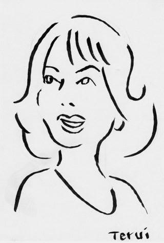 岸恵子似顔絵イラスト画像