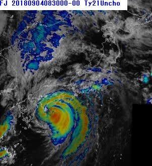 台風21号について、気象庁がWEBで公開している「気象衛星による雲頂強調写真」の2.5分ごとの原画のアニメGIF合成について、ファイルが大きすぎるので、前半・後半に
