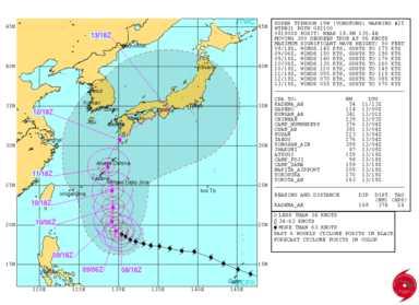 台風 19 号 の 進路 米 軍