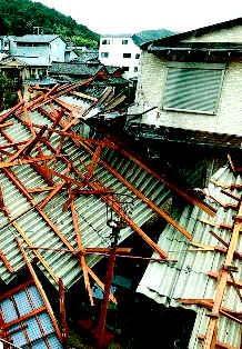 隣りの民家に落ちたマンションの屋根No.2