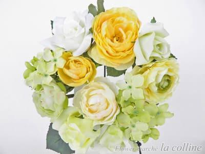 バラとラナンキュラスの小さなリース(イエロー)【アーティフィシャルフラワー(高級造花)アレンジ】