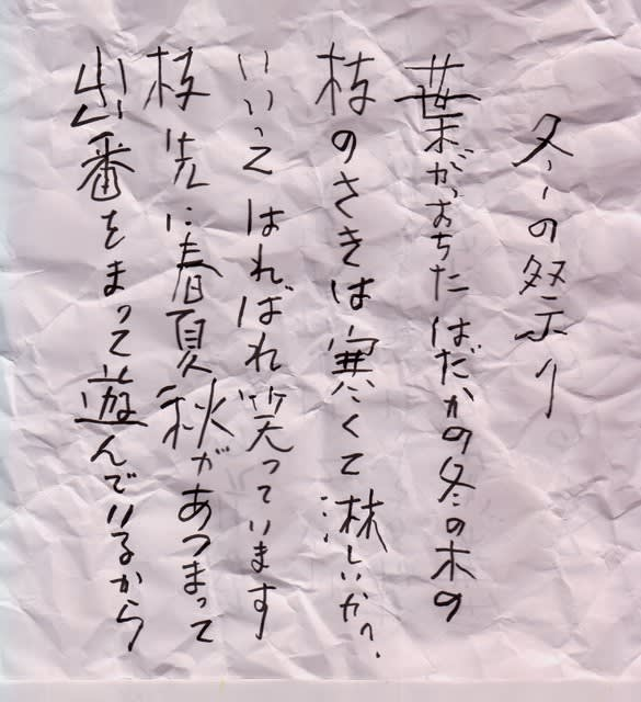 工藤直子詩『冬の祭り』 - 波風立男氏の生活と意見