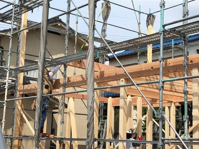 岡山市のNさん邸の新築現場の上棟の写真です。 | 岡山で月々三万円で新築一戸建てを建てるならサン・ブランドハウス
