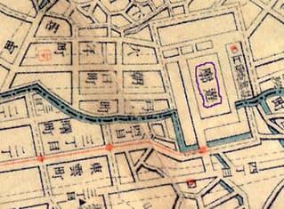 大正5年発行の呉市街地図(※あき書房が復刻・販売)より朝日遊郭(紫の線で囲んだエリア)周辺を拡大