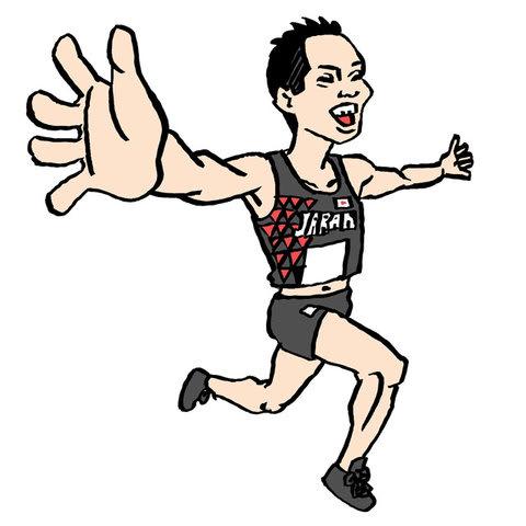 井上大仁選手の似顔絵イラスト画像