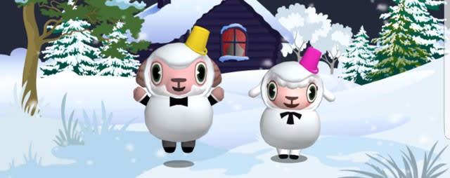 兄妹揃って雪だるまスタイル