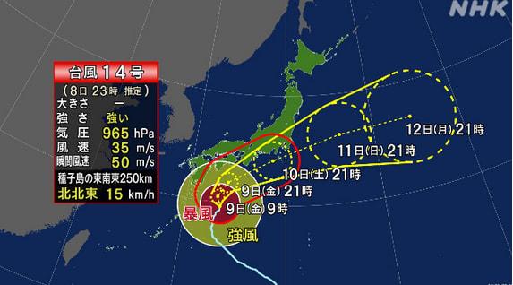 2020 台風 14 号 台風14号 警戒が必要な期間は?